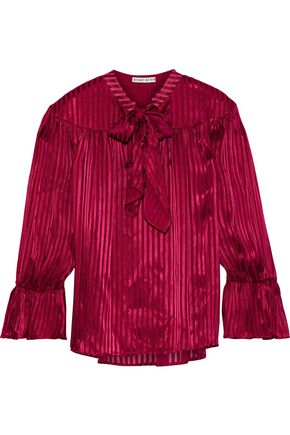 ALICE + OLIVIA Danika pussy-bow striped satin-jacquard blouse