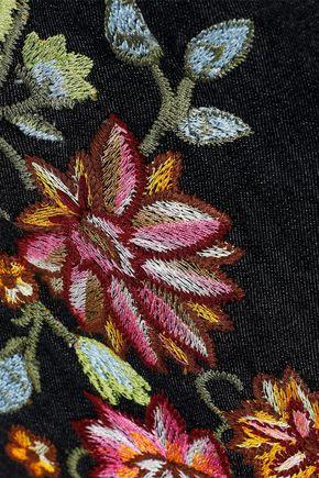 ALICE + OLIVIA Nat embroidered denim mini dress