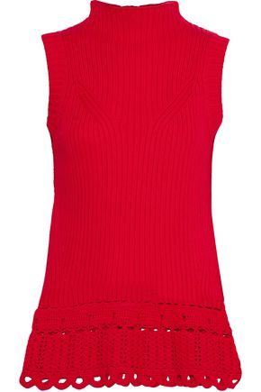 DEREK LAM 10 CROSBY Crochet-trimmed ribbed cotton turtleneck sweater