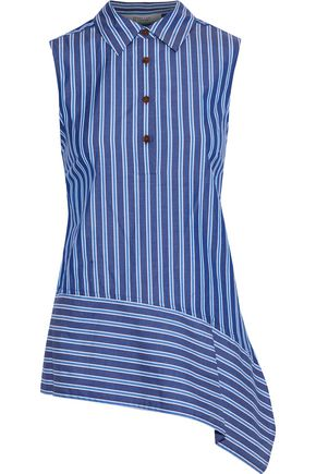 DEREK LAM 10 CROSBY Asymmetric striped cotton-poplin top
