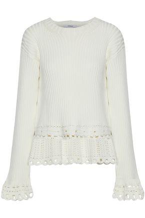 DEREK LAM 10 CROSBY Crochet-trimmed ribbed cotton sweater