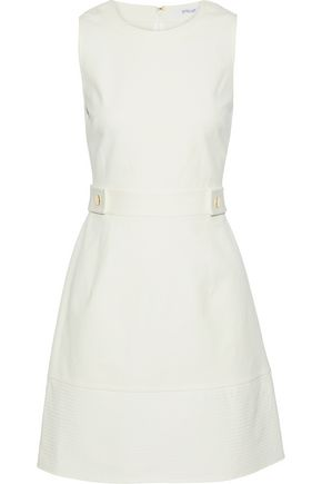 DEREK LAM 10 CROSBY Button-embellished stretch-cotton mini dress