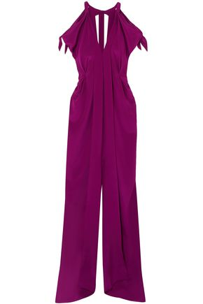 ROLAND MOURET Hessle cold-shoulder silk gown