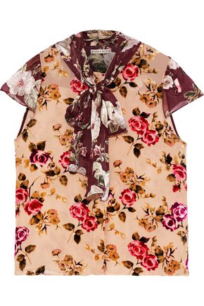 ALICE + OLIVIA Jeannie pussy-bow floral-print flocked and fil coupé chiffon blouse