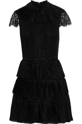 b689feee0e ALICE + OLIVIA Rosetta lace-paneled pleated tiered organza mini dress