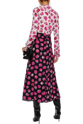 PROENZA SCHOULER Knotted two-tone floral-print silk midi dress