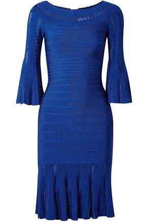 HERVÉ LÉGER Margo off-the-shoulder fluted bandage dress