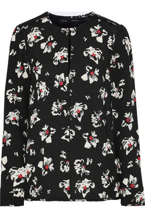 PROENZA SCHOULER Frayed floral-print crepe blouse