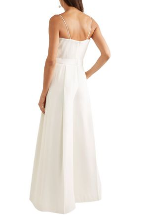 BRANDON MAXWELL Strapless pintucked crepe jumpsuit