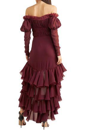 GIAMBATTISTA VALLI Off-the-shoulder ruffled silk-georgette dress