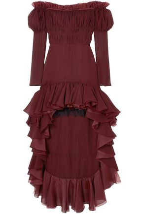 GIAMBATTISTA VALLI Off-the-shoulder ruffled silk-georgette dress