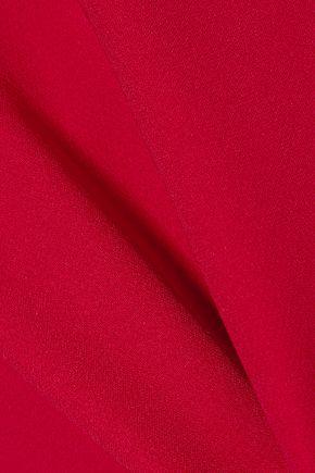 REEM ACRA Strapless layered silk-crepe top