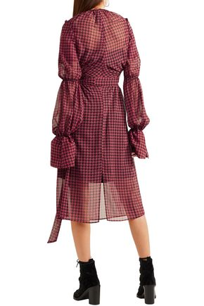 ROKH Convertible houndstooth georgette midi dress