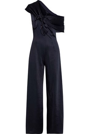 PAPER London Stina knotted draped textured-satin jumpsuit
