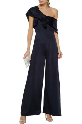 cc7698f98d8f PAPER London Stina knotted draped textured-satin jumpsuit