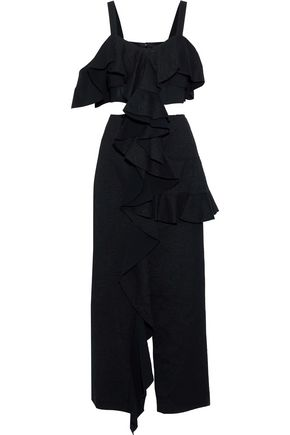 PROENZA SCHOULER Cutout ruffled cotton-blend jacquard maxi dress