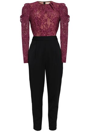 MICHAEL MICHAEL KORS Paneled cotton-blend lace and crepe jumpsuit