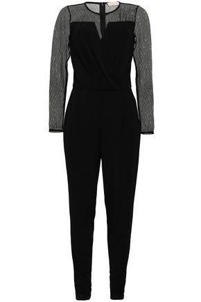 MICHAEL MICHAEL KORS Wrap-effect point d'esprit-paneled crepe jumpsuit