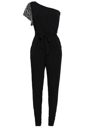 MICHAEL MICHAEL KORS One-shoulder crystal-embellished jersey jumpsuit