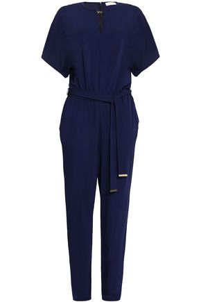 MICHAEL MICHAEL KORS Chain-embellished belted stretch-jersey jumpsuit