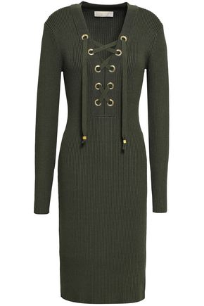 MICHAEL MICHAEL KORS Lace-up ribbed-knit dress