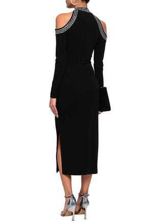 MICHAEL MICHAEL KORS Cold-shoulder studded stretch-crepe midi dress