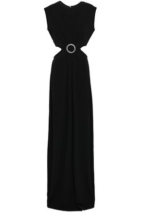 MICHAEL MICHAEL KORS Cutout embellished stretch-crepe maxi dress