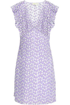 MICHAEL KORS Metallic embroidered tulle mini dress