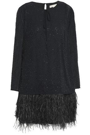 MICHAEL MICHAEL KORS Beaded feather-trimmed chiffon mini dress