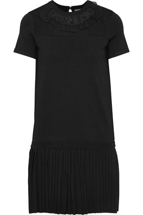 REDValentino Point d'esprit-paneled embellished stretch-knit mini dress