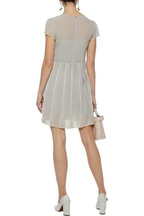 REDValentino Lace-trimmed pleated chiffon mini dress
