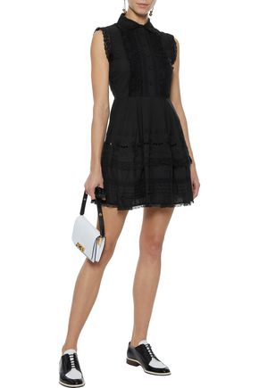REDValentino Lace-trimmed broderie anglaise cotton mini dress
