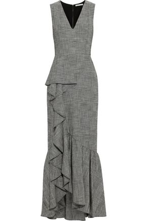 ALICE + OLIVIA Birch ruffled Prince of Wales checked woven maxi dress