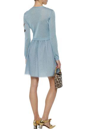 REDValentino Metallic intarsia-knit and point d'esprit mini dress