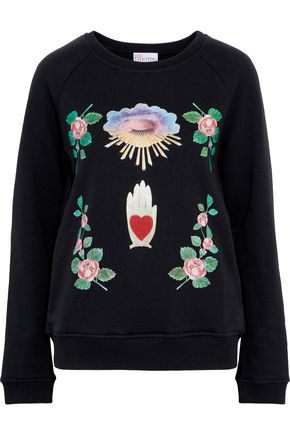 REDValentino Embroidered printed French cotton-blend terry sweatshirt