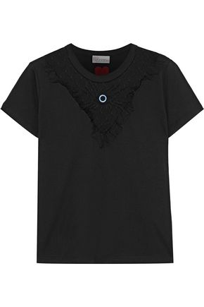 REDValentino Embroidered point d'esprit-paneled cotton-jersey T-shirt