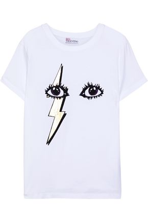 REDValentino Metallic printed cotton-jersey T-shirt