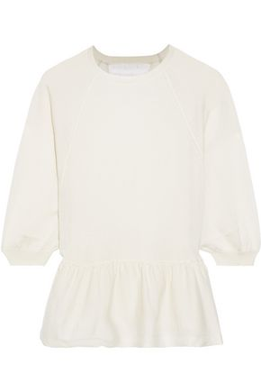 REDValentino Point d'esprit-paneled cashmere and silk-blend peplum sweater
