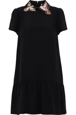 REDValentino Appliquéd satin-trimmed crepe mini dress