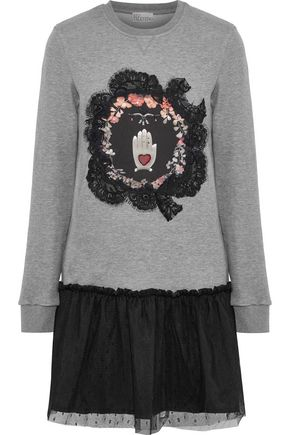REDValentino Embellished French cotton-blend terry and point d'esprit mini dress