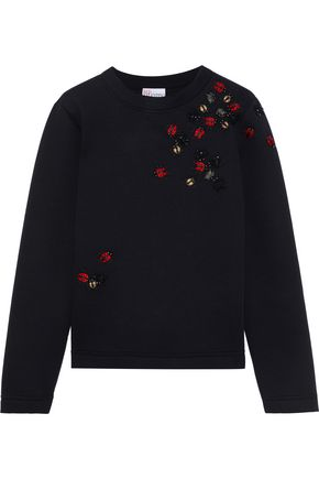REDValentino Embellished French cottn-terry sweatshirt