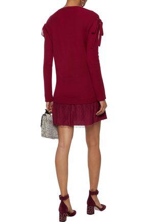 REDValentino Cold-shoulder point d'esprit-paneled wool mini dress