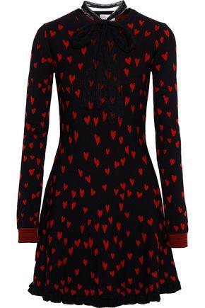 REDValentino Pussy-bow jacquard-knit mini dress