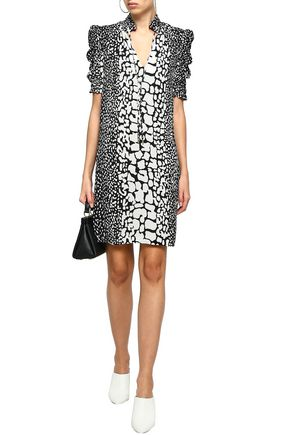 56a268b131e0 MICHAEL MICHAEL KORS Printed ruffle-trimmed silk-crepe dress