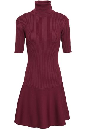 MICHAEL MICHAEL KORS Fluted ponte and ribbed-knit turtleneck mini dress