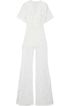 ELIE SAAB Embroidered point d'esprit jumpsuit