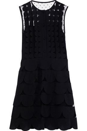 REDValentino Scalloped crepe de chine-paneled point d'esprit mini dress