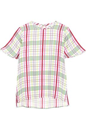 PRABAL GURUNG Checked silk-twill top