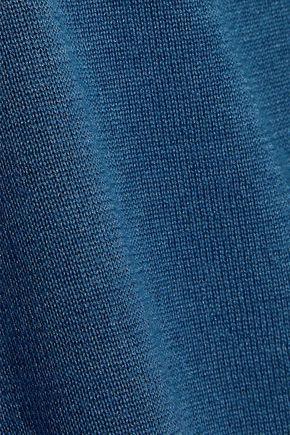 REDValentino Point d'esprit-trimmed cashmere and silk-blend peplum sweater