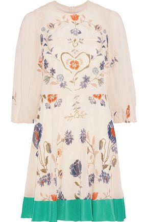 REDValentino Crepe de chine-trimmed floral-print silk-blend chiffon mini dress